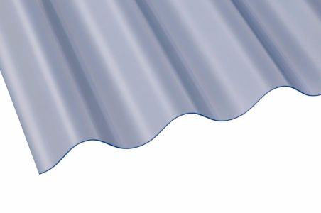 "3"" PVC Corrugated Sheet 762mm x 0.8mm x 3050mm Clear"