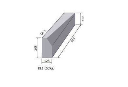 Supreme HP Kerb half/bat 225mm x 125mm x 915mm