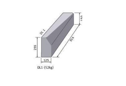 Supreme HP Kerb half/bat 225mm x 125mm x 915mm