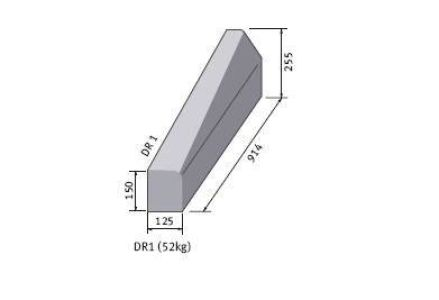 Supreme HP Right Hand Drop Kerb hb/bn 255m x 125mm