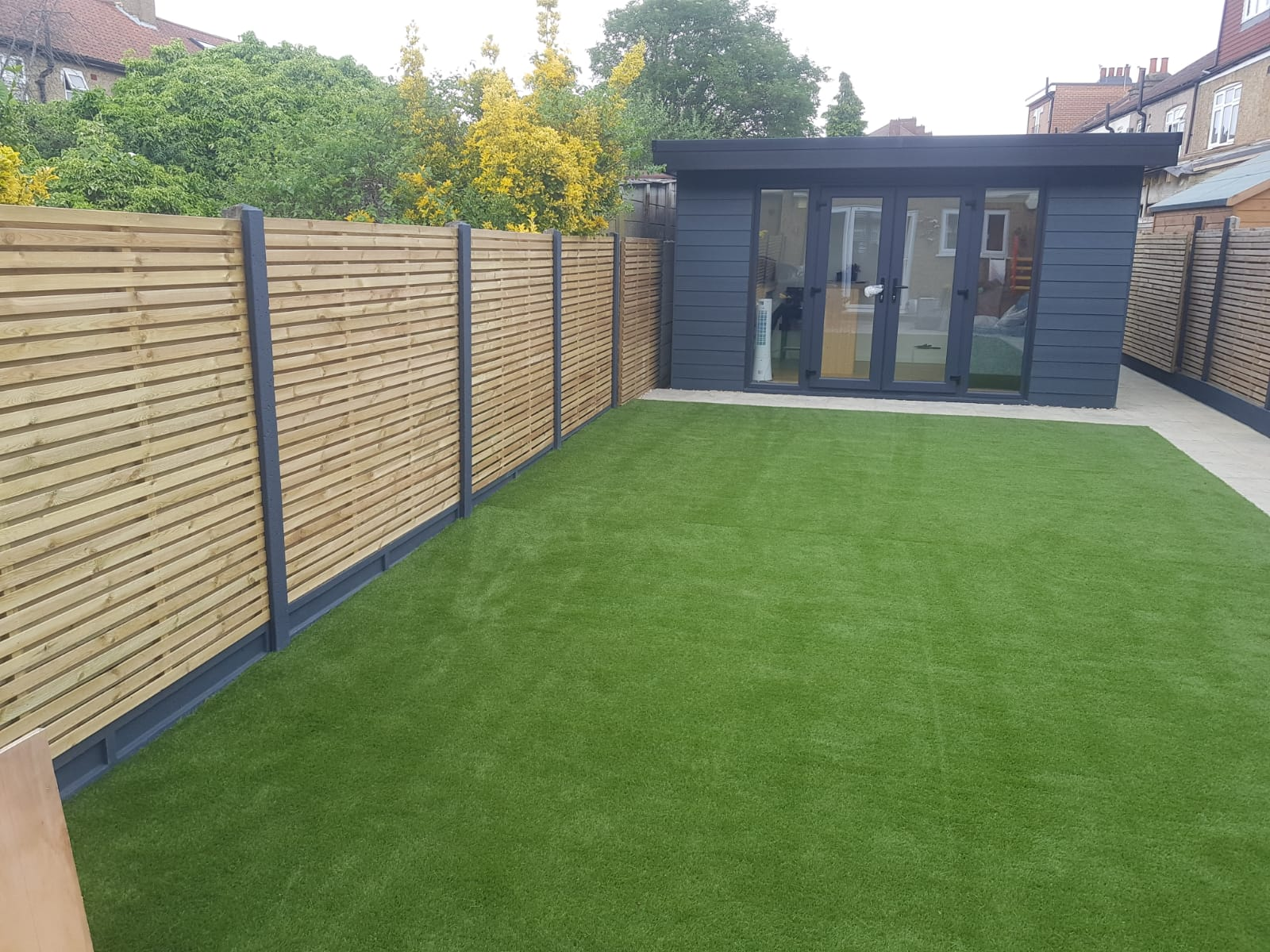 new lawn with artificial grass