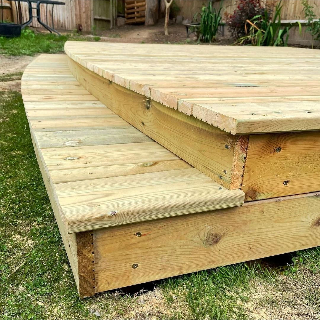 timber decking boards with steps