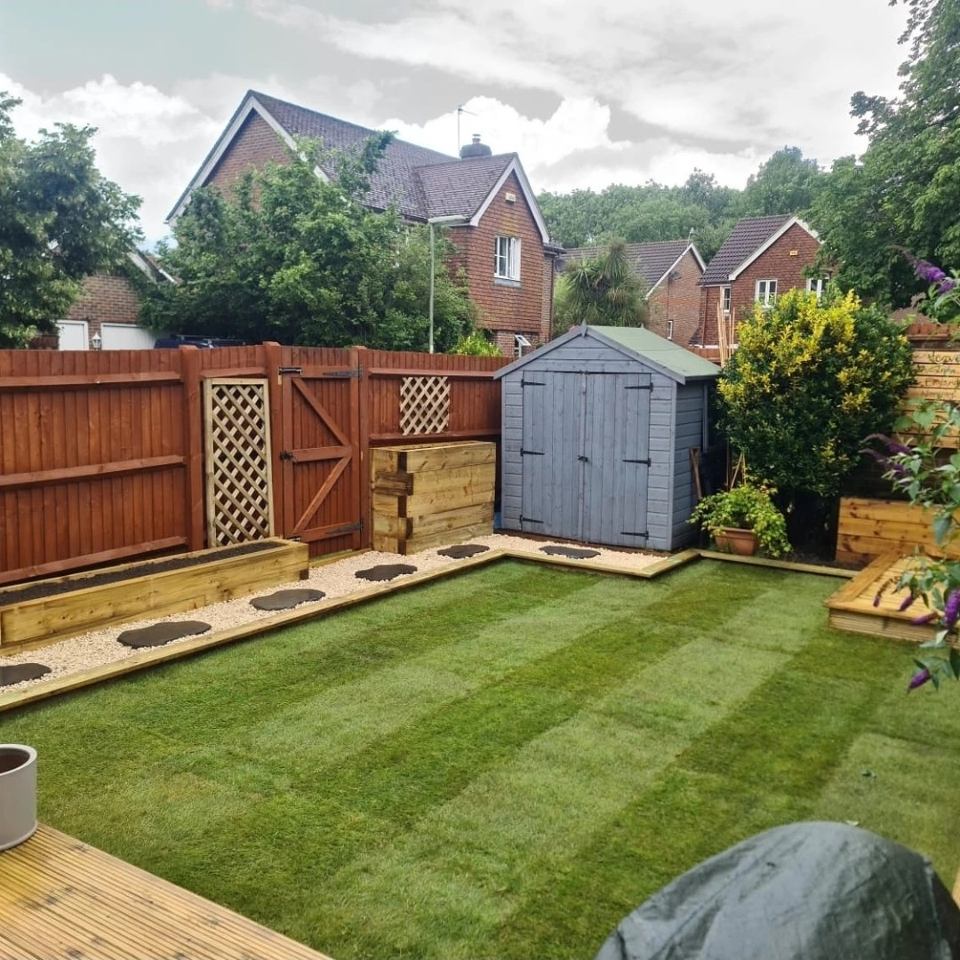 garden transformation with raised beds, a path, new topsoil and turf