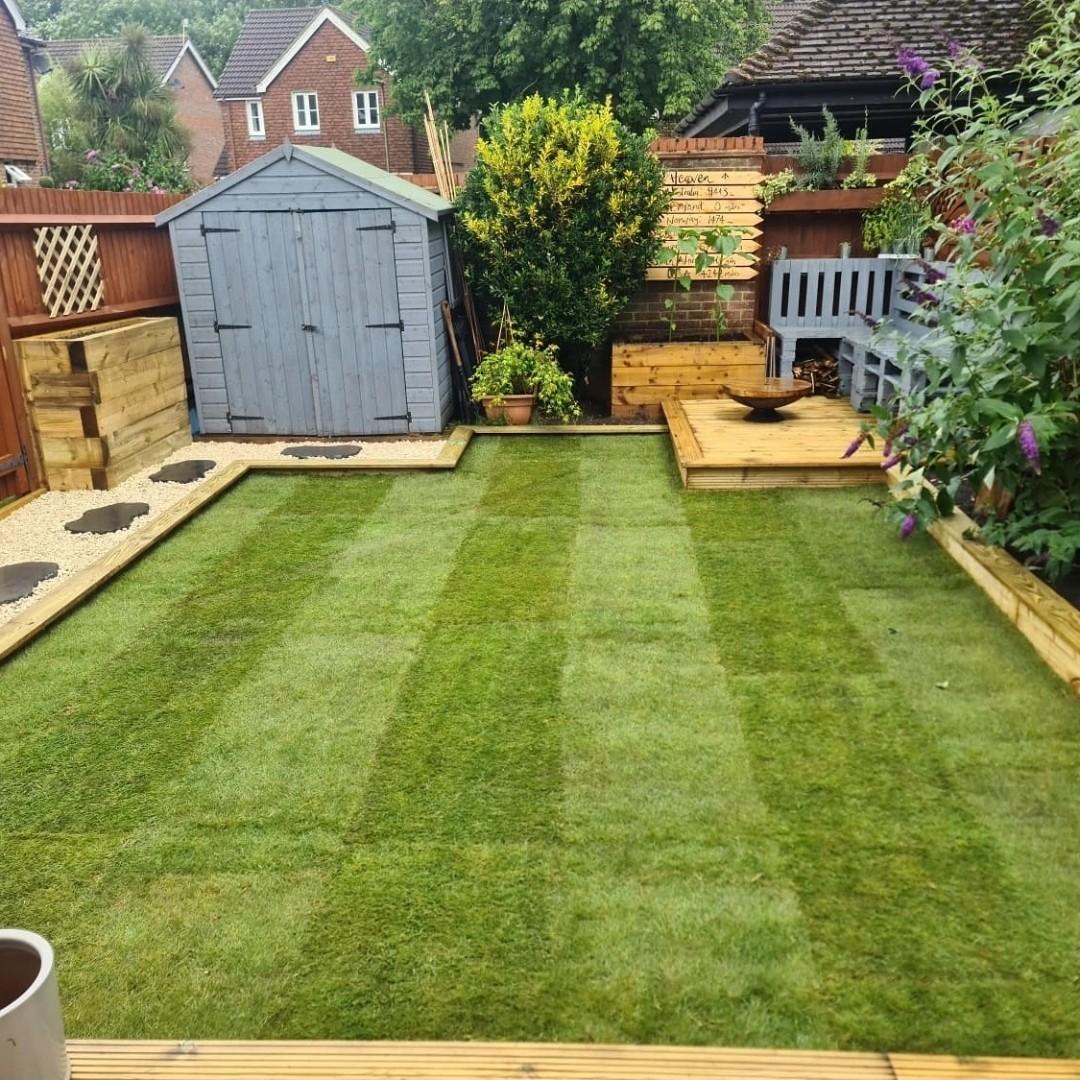 new topsoil and turf rejuvenate this garden
